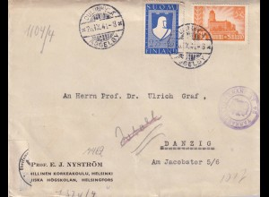 cover 1941 Helsinki to Danzig, 2x censor