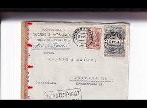 Thesaloniki 1943 to Leipzig, air mail, OKW censor