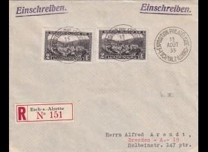 Einschreiben Esch-s-Alzette, 1935 nach Dresden