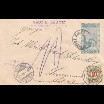 postcard Trebing 1908 to Langnau/Switherland, TAXE