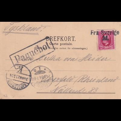 post card Paquebot Malmö via Kopenhagen 1904 to Elberfeld, ship post