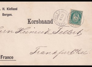 post card ship post 1890 Bergen to Frankfurt via Hammerfeste Hamburg Stempel