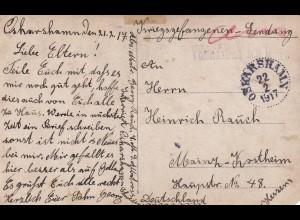 PoW, Kgf: seltene Photo Karte1917 Oskarshamn/Schweden nach Mainz