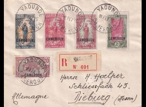 Registered Cover Yaounde 1935 to Dieburg/Germany