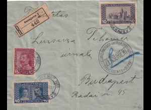 Registered Cover Sarajevo to Budapest, Zensuriert KuK