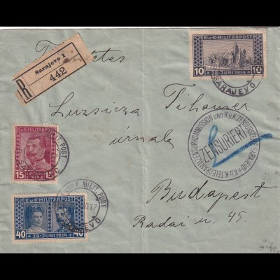 Registered Cover Sarajevo to Budapest, Zensuriert KuK