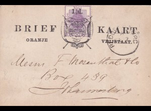 post card Oranje 1894 to Johannesburg