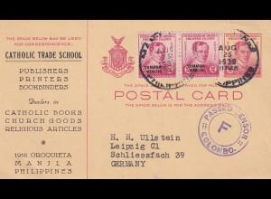 post card catholic/church goods 1939 via Ceylon to Leipzig, censor Colombo