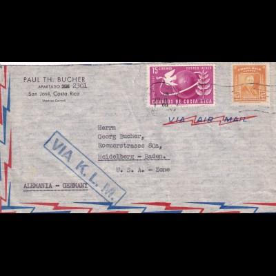 San José 1950 via air mail K.L.M. to Heidelberg