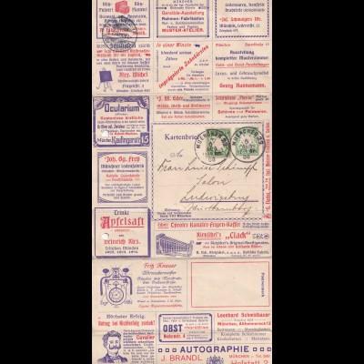 Kartenbrief 1908 München nach Ludwigsburg, viel Werbung