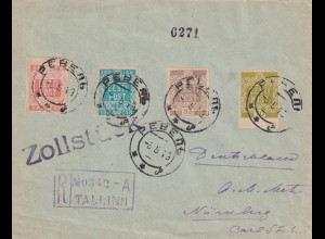 registered cover Tallinn to Nürnberg 1919, Zollstück, customs