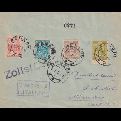 registered cover Tallinn to Nürnberg 1919, Zollstück, customs