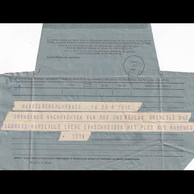 1952 Telegram Lourdes / Heidelberg