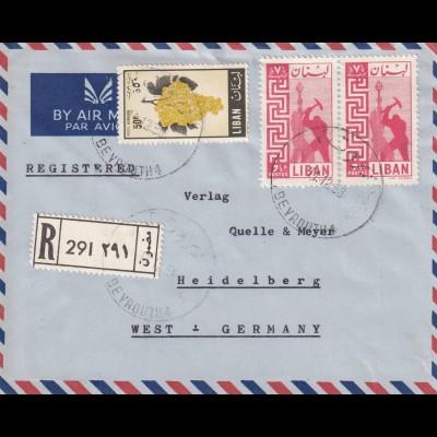 Deutsche Schule, Beirut 1958, registered to Heidelberg, air mail