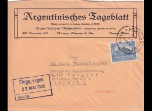 Argentinisches Tagblatt 1928, Buenos Aires to Hamburg