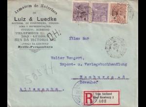 Recife, Einschreiben vom Ausland, Bahnpost..., D.H. Stempel 1926 nach Hamburg