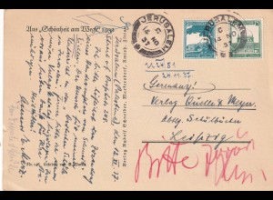 post card 1937 Jerusalem to Leipzig, very interessting Signature, Judaika