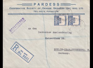 Registered Tel Aviv, 1932 to Berlin, double franked