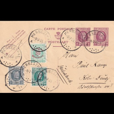 post card Herbesthal to Köln, 1926