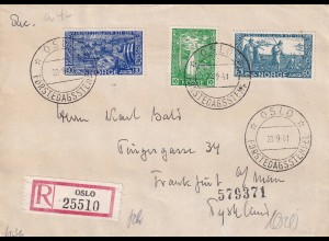 Registered Oslo 1941, FDC to Frankfurt, OKW censor