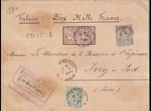 Value letter 10 Mille Frances, Vitry-le-Francois to Irvy-Port 1902