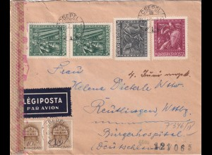 air mail Csepel to Reutlingen 1943, OKW censor, hungarian censor