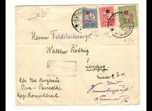 cover 1916 Pera Panealdi to Leipzig, censor