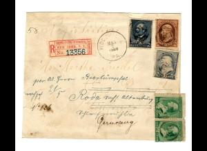 Registered New Yorkk 1889 to Roda, forwarded to Gera/Germany