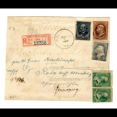 Registered New Yorkk 1889 to Roda, forwarded to Gera/Germany