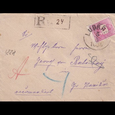 Registered letter Ludbreg (today Croatia)