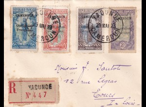 Registered cover Yadunde to France/Tours 1923