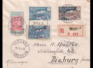 Registered cover Yaounde to Dieburg/Germany 1935