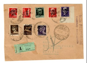 Parcel Front page Registered Trieste 1946 AMG VG to Palermo