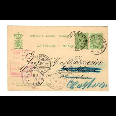 Ganzsache Differdange nach Merklinde/Westfalen, Weiterleitung 1899 Castr. Rauxel