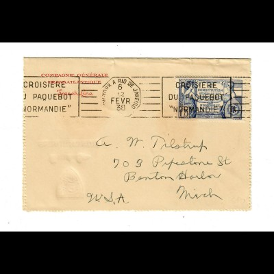 card letter: French Line: S.S. Normandie Paquebot NY-Rio de Janeiro 1938