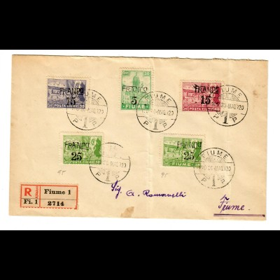 Registered cover Fiume 1920
