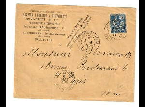 cover constantinople (Levante) to Paris 1911