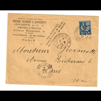 cover constantinople (Levante) to Paris 1911