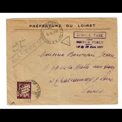 cover Préfecture du Loiret, simple Taxe Service Public 1924 to Chateauneuf/Loire