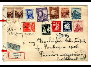 registered cover Bratislava 1943, OKW censorship to Praha