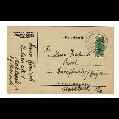 Feldpostkarte Pilsen 1918, philatelistische Mache der Halbierung
