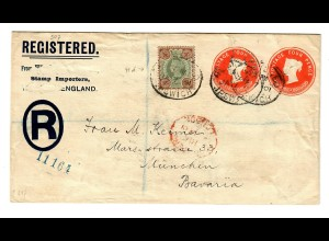 Registered cover, private made, stamp importers to München 1901