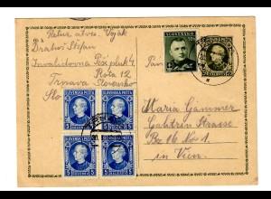 Postcard 1940 Trnava to Wien