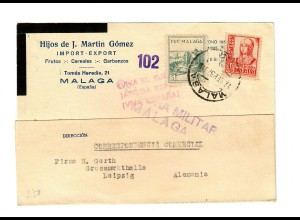 Post card Malaga 1937, censorship. offer fruits to Leipzig