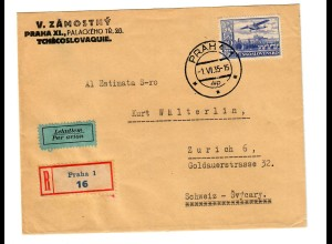 Registered air mail cover Praha 1935, revers Information to Zürich