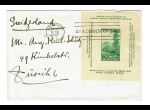 cover Asheville 1937 to Zuerich in Switzerland