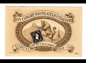 picture card Torino 1929, Congresso Filatelica Nazionale