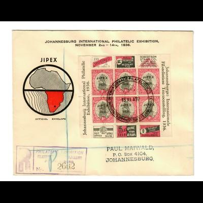 Johannesburg: International Philatelic Exhibition 1936, registered