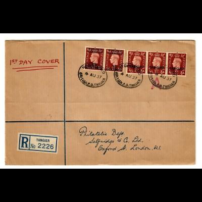 registered Tangier, FDC 1937: Britisch P.O Tangier