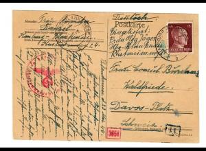 Postkarte 1944 Hamburg nach Davos, Schweiz, Zensur